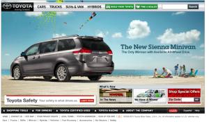 Toyota homepage